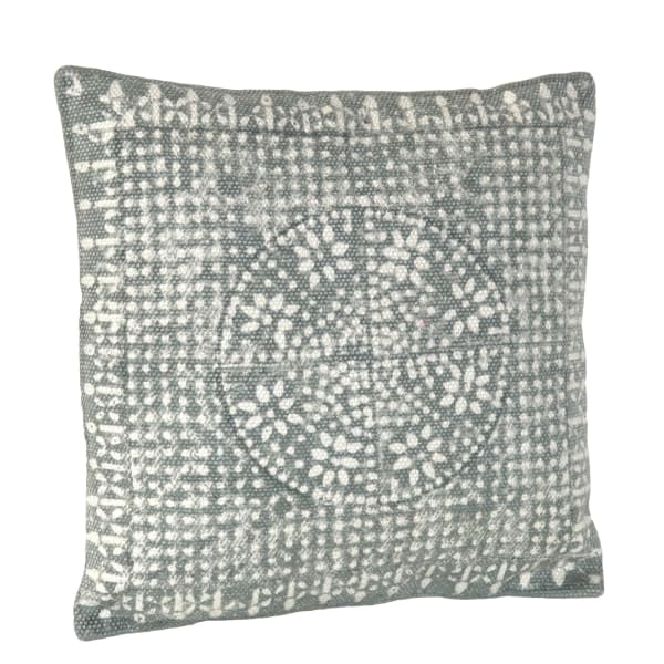 Block Print Gray and White Accent Pillow