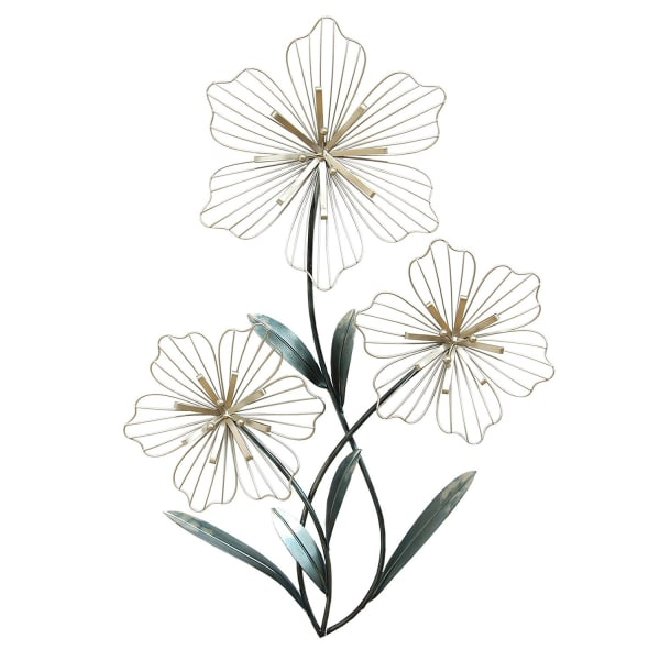 Silver and Blue Tri-Flower Metal Wall Decor