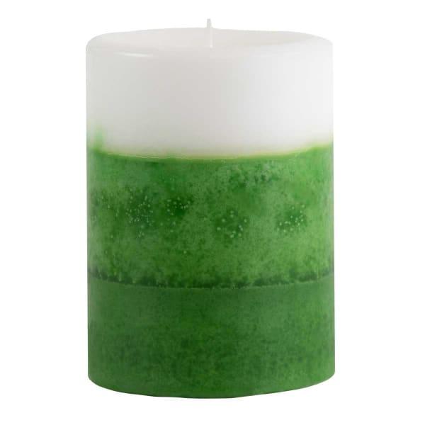 Pier 1 Apple Mint 3x4 Layered Pillar Candle