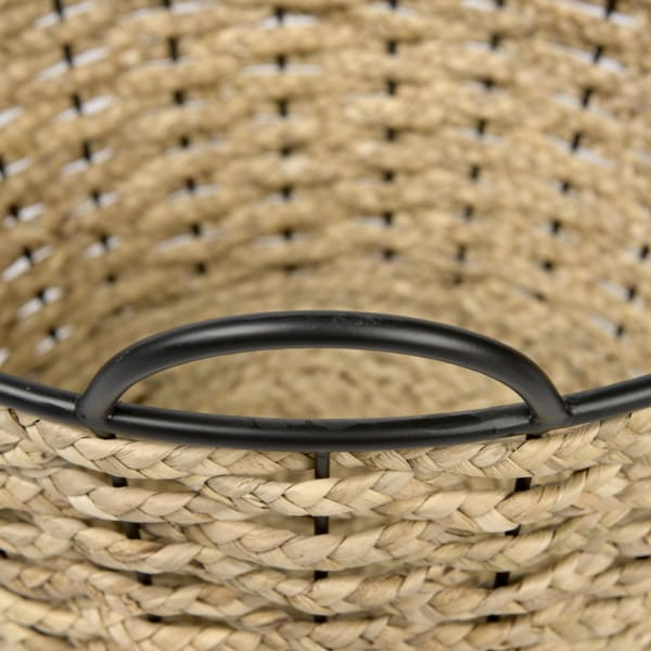 Braelyn  Woven with Metal Detail Set of 2 Round Baskets