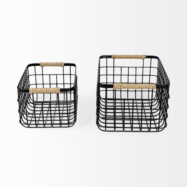 Marius Matte Black Metal with Rope Trim Set of 2  Rectangular Baskets