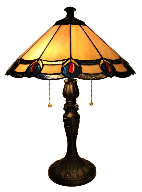 Peacock Feathers Orange Stained Glass Table Lamp