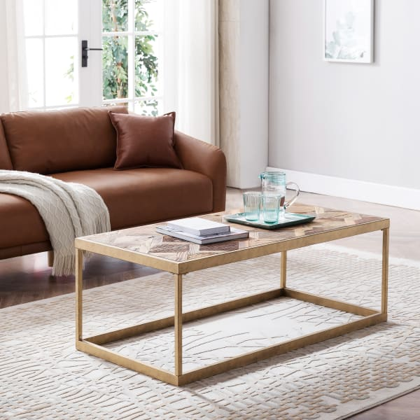 Modern Gold Reclaimed Wood Coffee Table