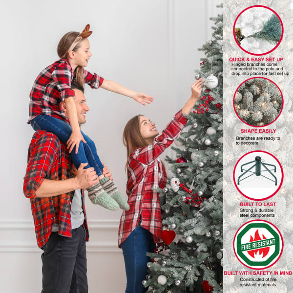 Ashby 7.5' Green Flocked Virginia Pine Artificial Christmas Tree
