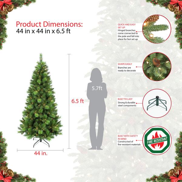Ezra Pre-Lit 6.5' 250 Lights Green Adirondack Pine Artificial Christmas Tree