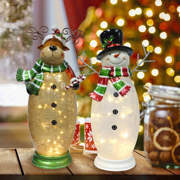 40 LED Rice Lights White Crackle Glass Moose and Snowman Set