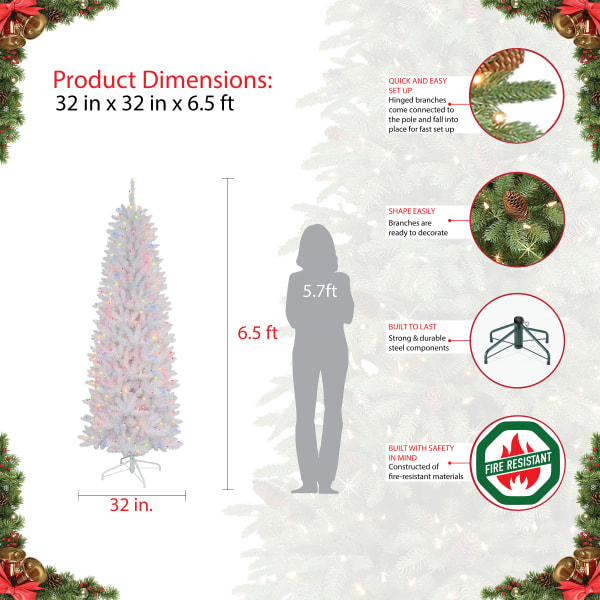 Montgomery Pre-Lit 6.5' 250 Multicolor White Pencil Fraser Fir Artificial Christmas Tree
