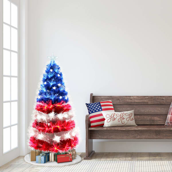 Pre-Lit 4' Red, White and Blue Fiber Optic Patriotic Artificial Christmas Tree