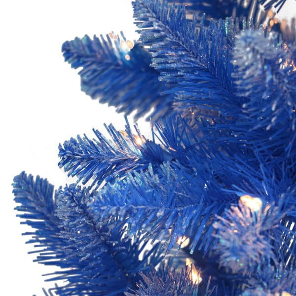 Genevieve Pre-Lit 6.5' 300 Lights Blue Fashion Blue Artificial Christmas Tree
