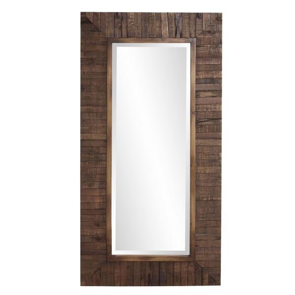 Rectangular Weathered Walnut Stain Strips Mirror