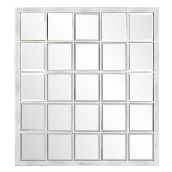 Rectangular Whitewash Window Pane Tile Mirror