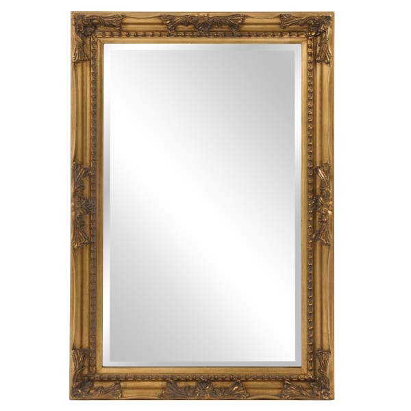 Rectangular Antiqued Gold Wood Frame Mirror