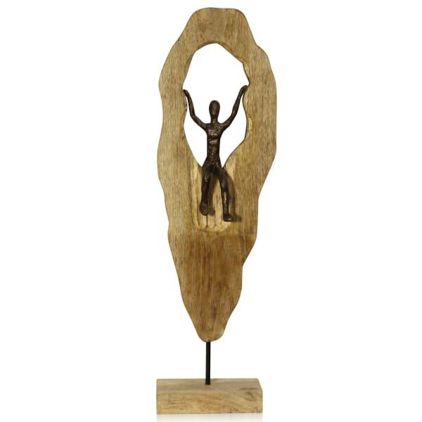 Human Descending Natural Carved Wood Figurine
