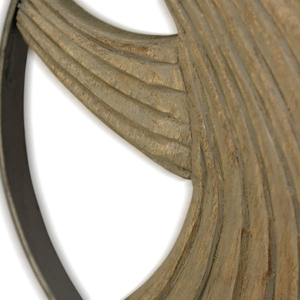 Layered Waves I Natural Carved Wood Metal Ring Decor