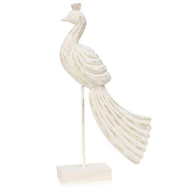 Peaceful Peacock I White Washed Wood Figurine