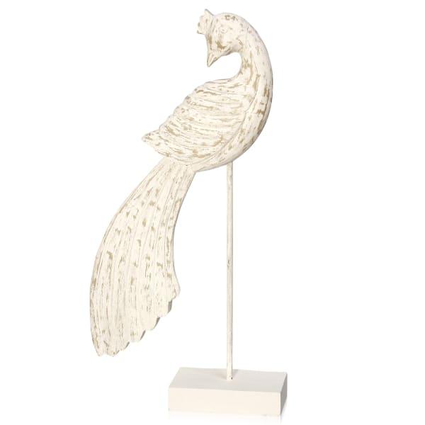 Peaceful Peacock II Natural White Washed Wood Figurine