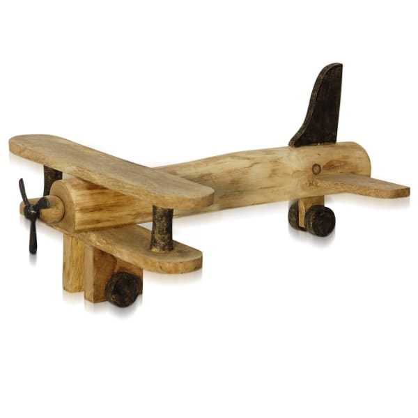 Natural Biplane Natural Stained Plane Figurine