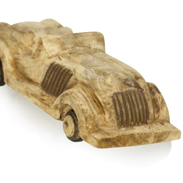 Oldtimer Auto Natural Stained Wood Sculpture
