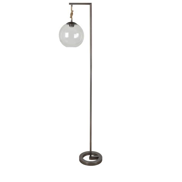 Luella Gun Metal with Hanging Glass Globe Floor Lamp