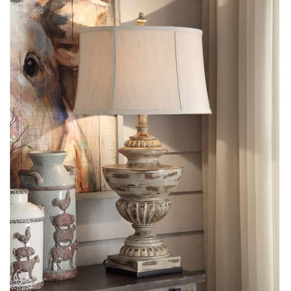 Astoria Distressed Resin Antique Cream Table Lamp