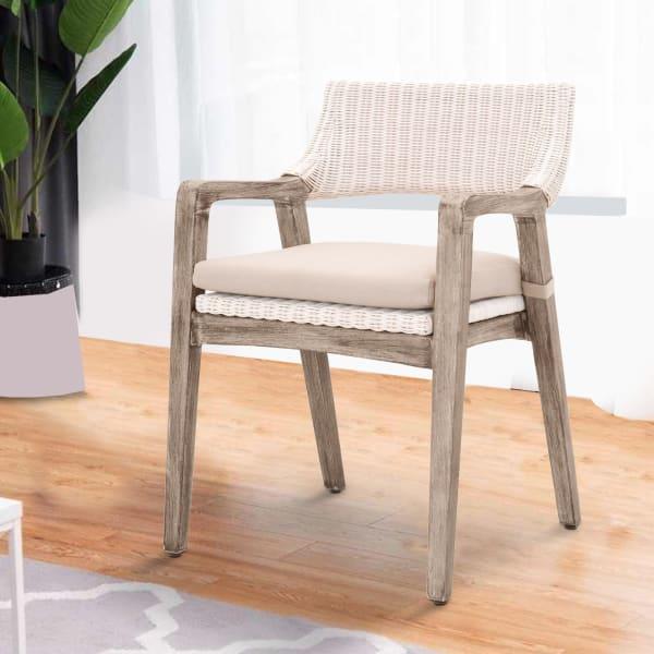 Wooden Fabric Wicker Armchair