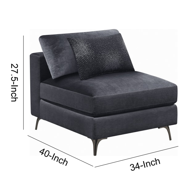Charcoal Gray with Accent Pillow Fabric Armless Chair