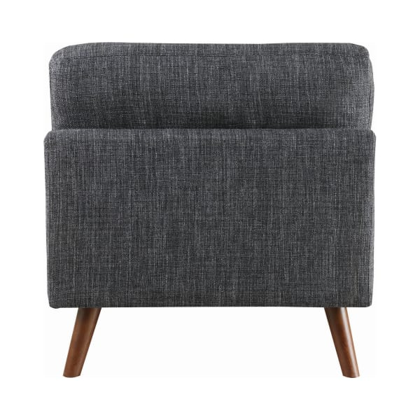 Midcentury Style Dark Gray Splayed Legs Fabric Armless Chair