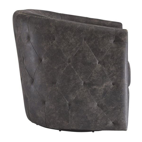 Black Barrel Back Leatherette Swivel Accent Chair