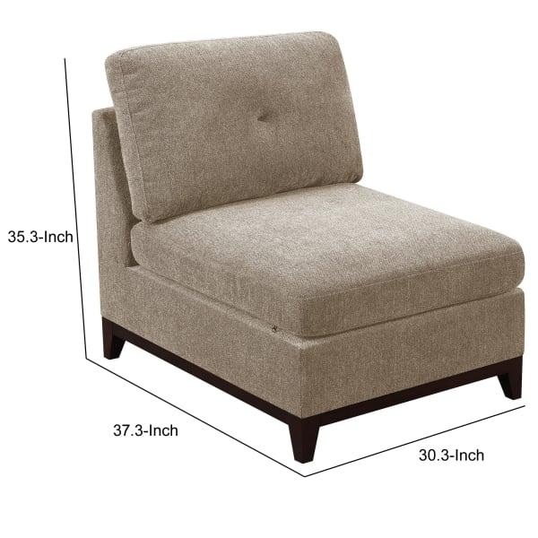 Gray Tufted Back Armless Chair