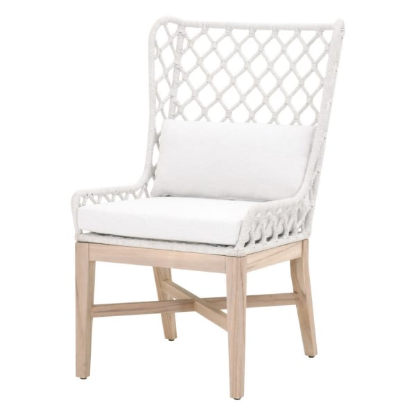 Rope Woven Padded Wing Back Chair