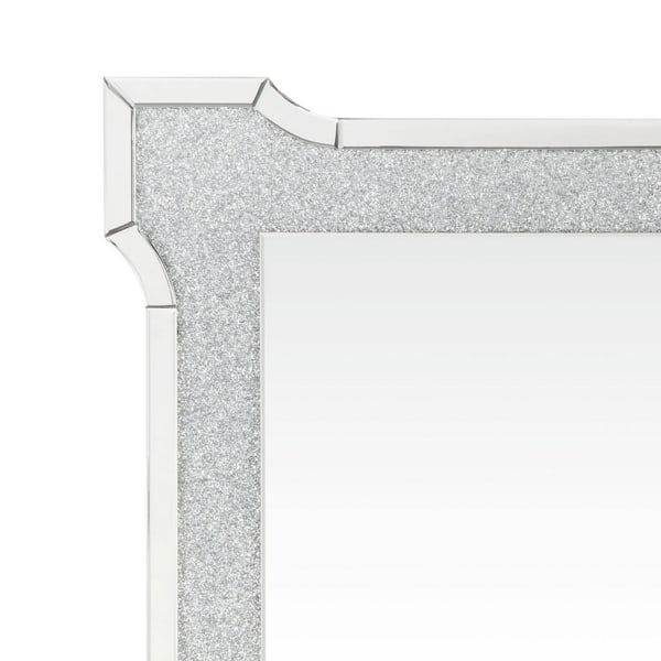 Beveled  with Faux Diamond Inlays Silver Rectangular Wall Mirror