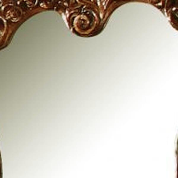 45 Inch Scrolled Details Brown Wooden Mirror