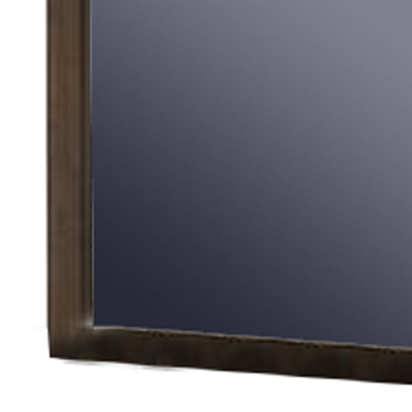 Molded Details  and Rectangular Frame Brown Wall Mirror