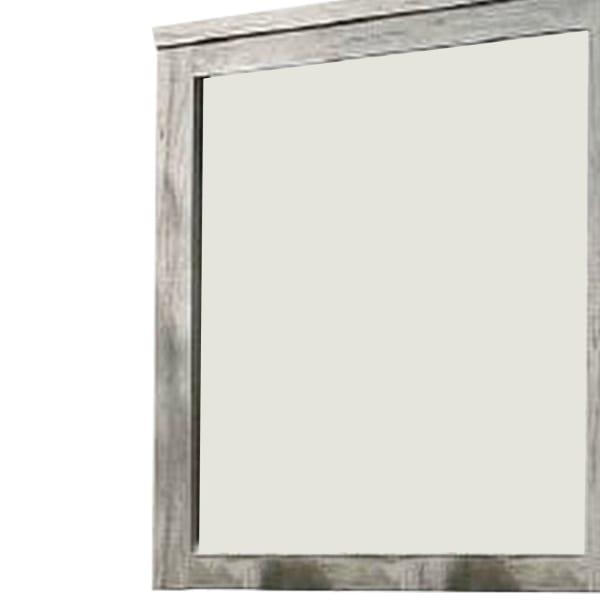 Molded Details Gray Rectangular Frame Wall Mirror