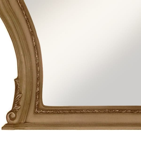 Wooden Carvings and Scrolled Frame Gold Wall Mirror
