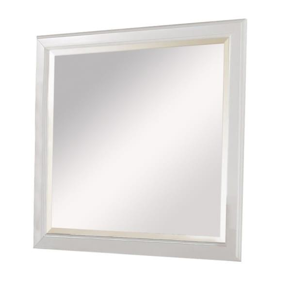 Raised Edges White Rectangular Frame Wall Mirror