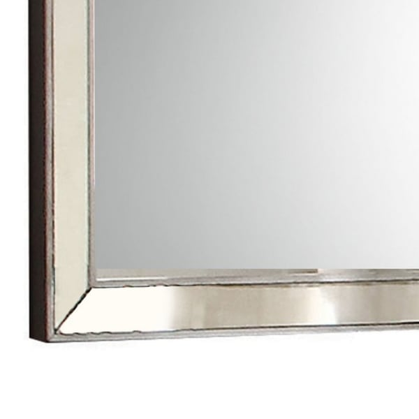 Beveled Edges and Mounting Hardware Wooden Silver Wall Mirror