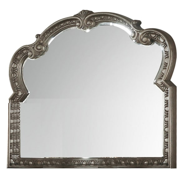 Wooden Carved with Scrolled Framework Gold Wall Mirror