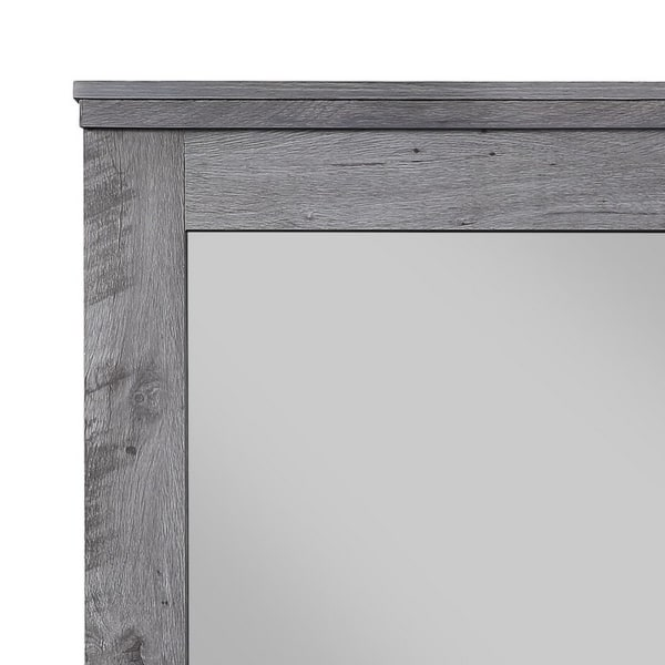 Traditional with Rustic Style Wooden Gray Wall Mirror