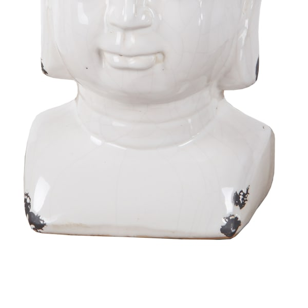 Antiqued Buddha White Sculpture