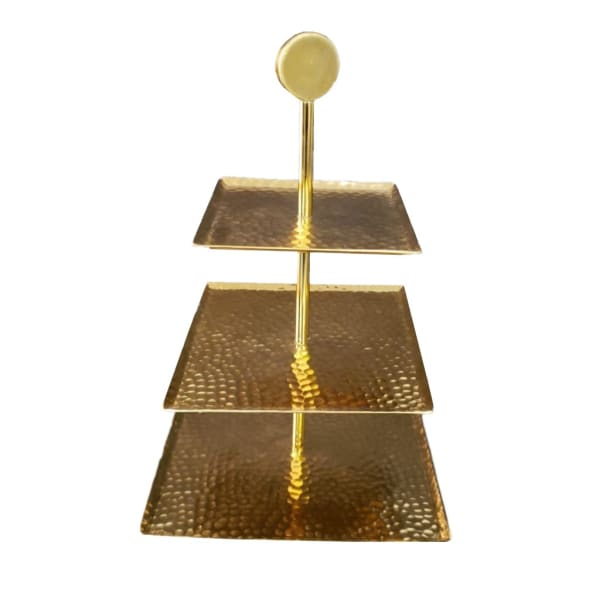 Handcrafted Hammered Square Gold 3-Tier Server