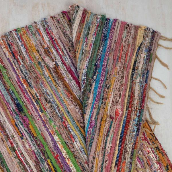 Rainbow Colors Jute Rag Fringe 2' x 3' Scatter Rug