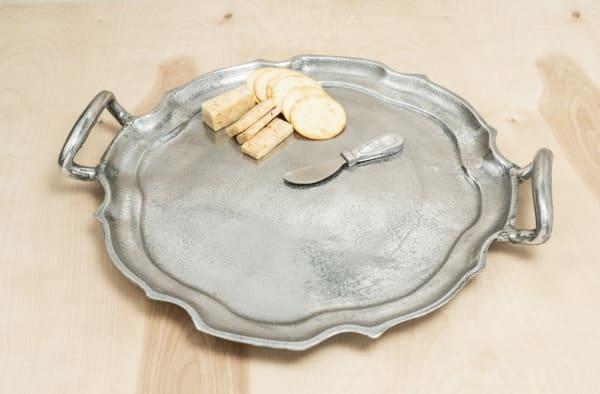 Vintage Look Baroque Silver Handled Tray