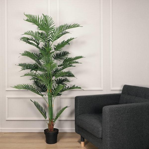 Artificial Areca Palm Tree with Black Plastic Vase