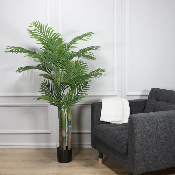 Artificial Areca Palm Tree with 18 Leaves with Black Plastic Pot