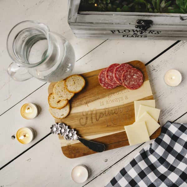 Mother's Love Acacia Serving Board with Spreader