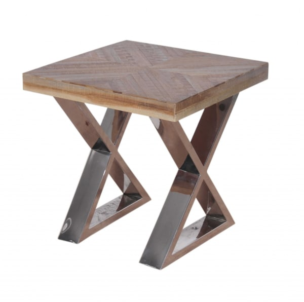 Multi Grain Wood and Chrome End Table