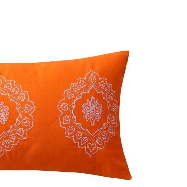 Embroidered Medallion Orange Lumbar Pillow