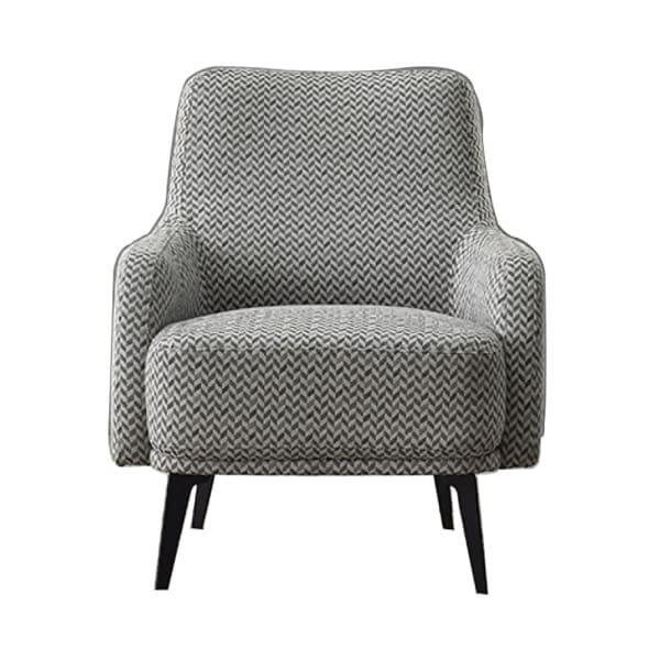Gray Fabric Herringbone Pattern Lounge Chair
