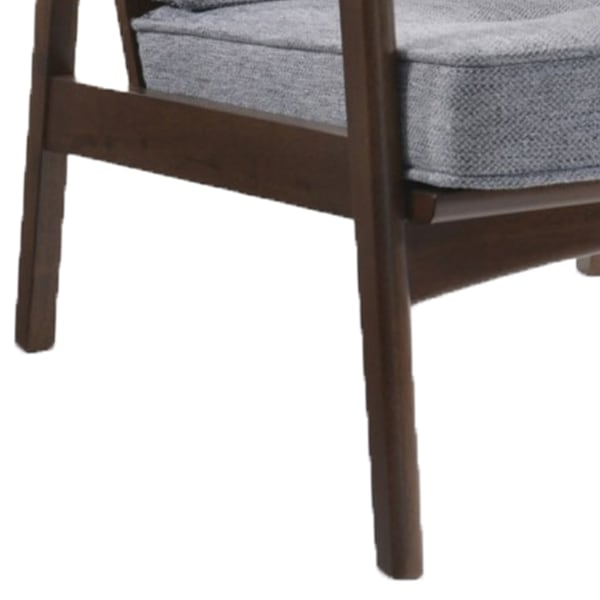 Gray and Brown Button Tufted Wooden Lounge Chair